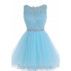 Australia Formal Dresses Cocktail Dress Party Dress Sky Blue A-Line Lllusion Neck Knee Length Tulle With Beading