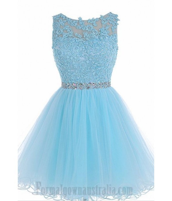 Australia Formal Dresses Cocktail Dress Party Dress Sky Blue A-Line Lllusion Neck Knee Length Tulle With Beading New