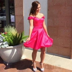 A-Line Short Rosy Off The Shoulder Satin Semi Formal Dress