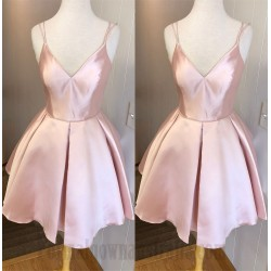 A Line Short Candy Pink Spaghetti Straps Semi Formal Dress Party Dress
