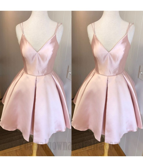 A-Line Short Candy Pink Spaghetti Straps Formal Dress Party Dress New
