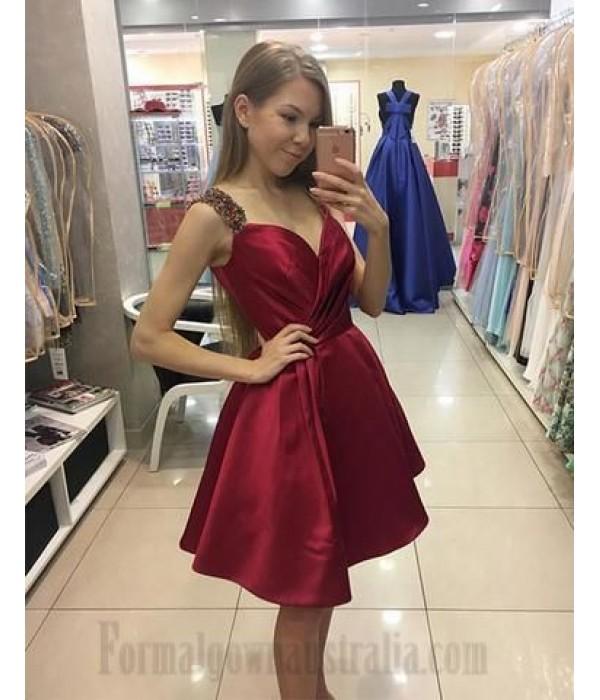 Australia Simple Formal Dress Fuchsia Short Satin With Beading New