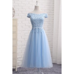 A-Line  Sky Blue Cap Sleeve Evening Formal Dress Tea Length Lace Dress Tulle