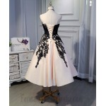 A-Line Tea Length Sweetheart Neckline lace-Up Stretch Satin Formal Dress Evening Gowns New