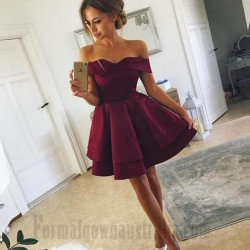 Australia Short Semi Formal Dress Fuchsia Satin Off The Shoulder Cocktail Dress