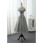 A-Line Meidium-Length Lace Dress Tulle Off The Shoulder Lace-Up Formal Evening Dress New