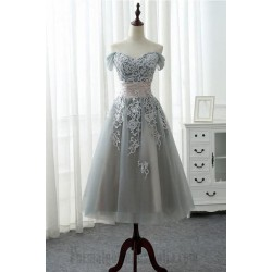A-Line Meidium-Length Lace Dress Tulle Off The Shoulder Lace-Up Formal Dress Evening Gowns