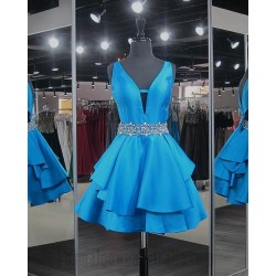 Australia Semi Formal Dress Ocean Blue Y Neck With Sequins Waist V Back Short Dress
