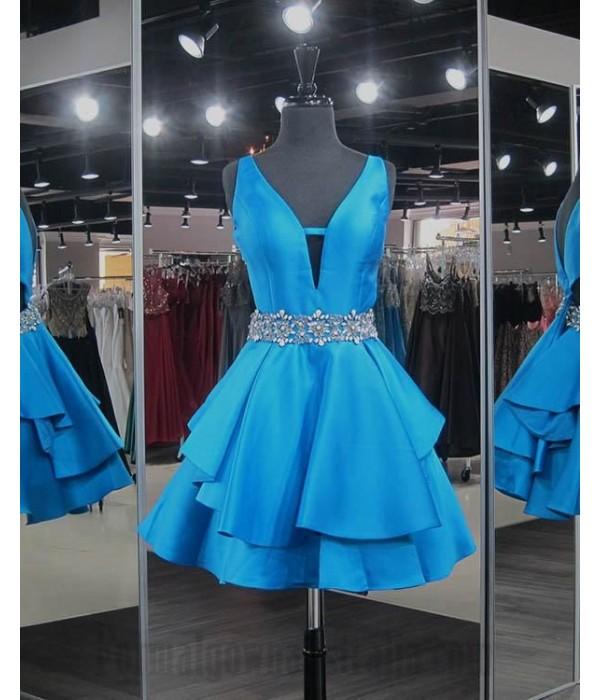 Australia Semi Formal Dress Ocean Blue Y-Neck With Sequins Waist V-Back Short Dress New