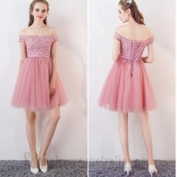 A-line Short Lace Dress Tulle Off The Shoulder Formal Cocktail Dress With Sequins