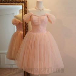 A-Line Off The Shoulder Knee Length Tulle Formal Dress Party Dress With Beading