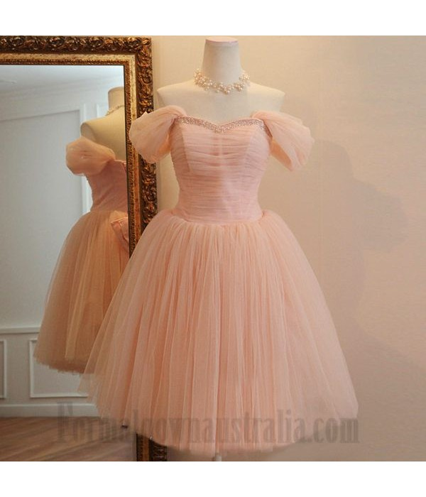 A-Line Off The Shoulder Knee Length Tulle Formal Dress Party Dress With Beading New