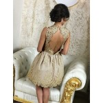 A-Line Knee Length Open Back Lace Stretch Satin Semi Formal Dress With Appliques New