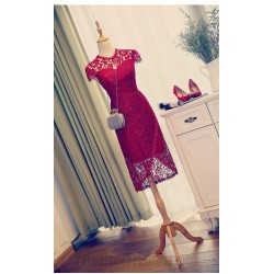 Sheath Column Medium Length Short Sleeves Red Lace Sheer Neck Formal Dress Evening Gown Partydress
