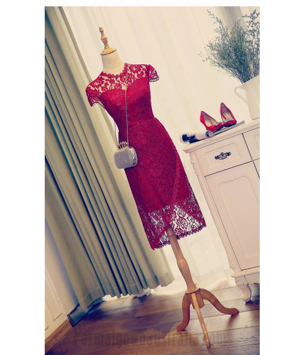 Sheath/Column Medium-Length Short Sleeves Red Lace Sheer Neck Formal Dress Evening Gown PartyDress New