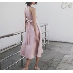 A-line High-Neck Zipper Back Sleeveless Semi Formal Dress With Sashes New