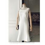 Elegant Tea-Length Square Neck Zipper Back White Satin Slim Semi Formal Dress New