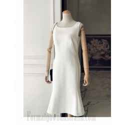 Elegant Tea-Length Square Neck Zipper Back White Satin Slim Semi Formal Dress