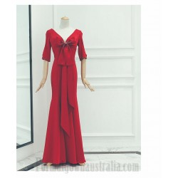 Sheath Column Floor Length Red Satin Prom Dress Zipper V Back Half Sleeves Formal Dress With Bowknot Beading