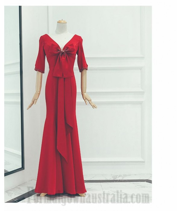 Sheath/Column Floor-Length Red Satin Prom Dress Zipper V-Back Half Sleeves Formal Dress With Bowknot/Beading New