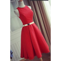A-Line Knee-Length Red Round Neck Sleeveless Semi Formal Dress