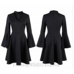 A-Line Knee-Length Little Black Dress Zipper Back Long Sleeves Slit Semi Formal Dress New