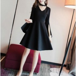 A-Line Knee-Length Little Black Dress Zipper Back Long Sleeves Slit Semi Formal Dress