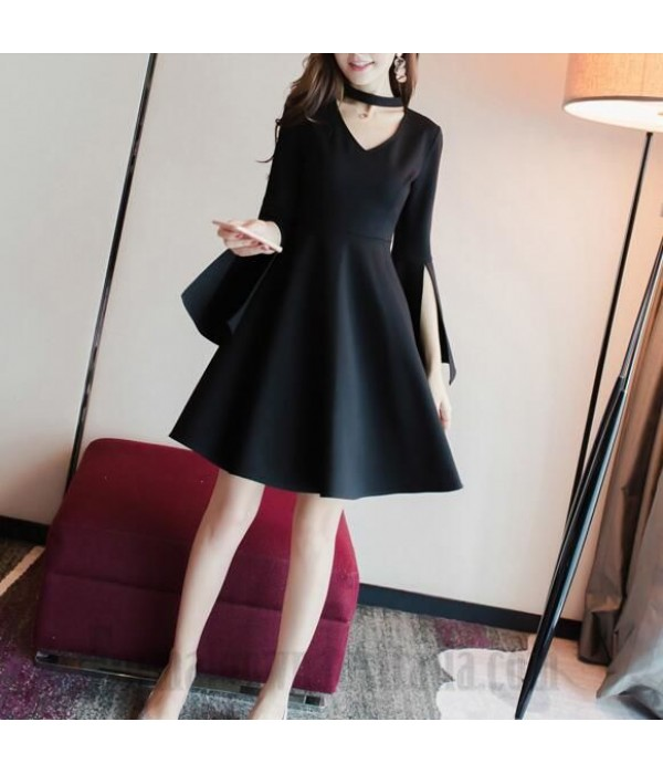 A-Line Knee-Length Little Black Dress Zipper Back Long Sleeves Slit Semi Formal Dress New