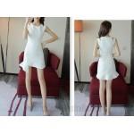 Elegant Short White Chiffon Zipper Back Semi Formal Dress New