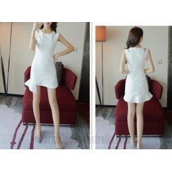 Elegant Short White Chiffon Zipper Back Semi Formal Dress