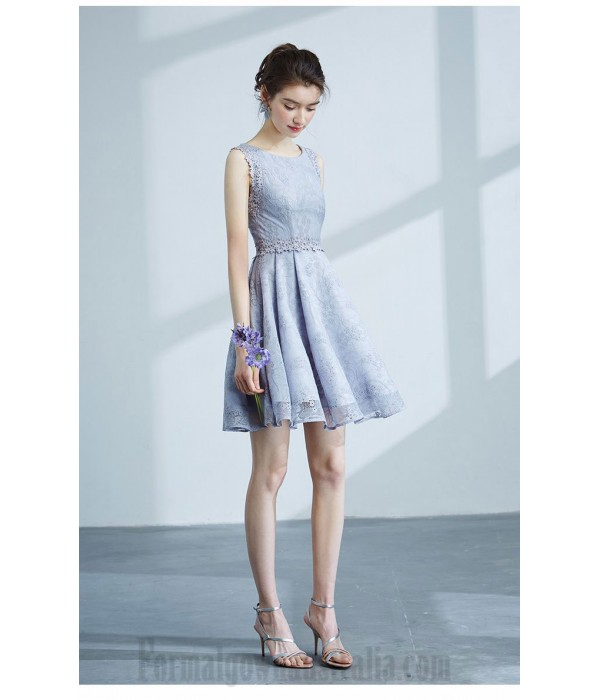 A-Line Short Lace/Satin Boat Neck Zipper-Up Back Semi Formal Dress With Appliques/Sequins New