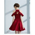 Ball Gown Boat Neck Short/Mini Satin Keyhole Back Cocktail Dress Party Dress New