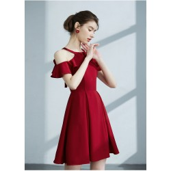 Ball Gown Boat Neck Short Mini Satin Keyhole Back Cocktail Dress Party Dress