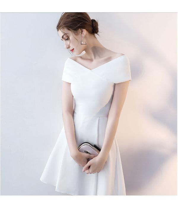 Australia Short Semi Formal Dress White V-neck Zipper Back A-line Satin New