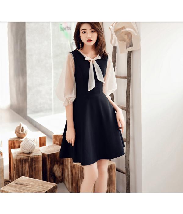 Australia Formal Dress Evening Gowns Fashion Bow Tie Transparent Sleeves Short Little Black Dress New