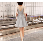 Australia Short Semi Formal Dress Spaghetti Straps Neck Silver Gray A-line Dress New