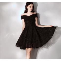 Australia Short Formal Evening Dress Off The Shoulder Black Dress With Sequined