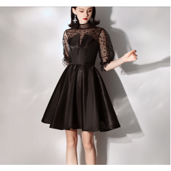 Australia Semi Formal Dress Sexy Fashion Neckline Transparent Sleeves Black Satin Dress