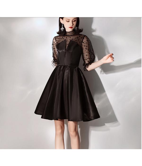 Australia Semi Formal Dress Sexy Fashion Neckline Transparent Sleeves Black Satin Dress New