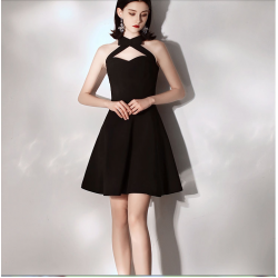 Australia Semi Formal Dress Criss Cross Neck Short Black A-line Dress