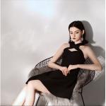 Australia Semi Formal Dress Criss Cross Neck Short Black A-line Dress New