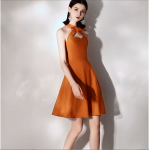 Australia Semi Formal Dress Halter-neck With Bowknot Caramel Colour Short Dress New