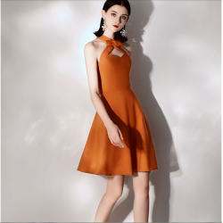 Australia Semi Formal Dress Halter Neck With Bowknot Caramel Colour Short Dress
