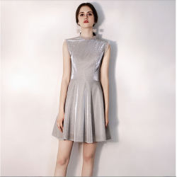 Australia Semi Formal Dress High-neck Sequined Sparkle & Shine Grey Short A-line Dress