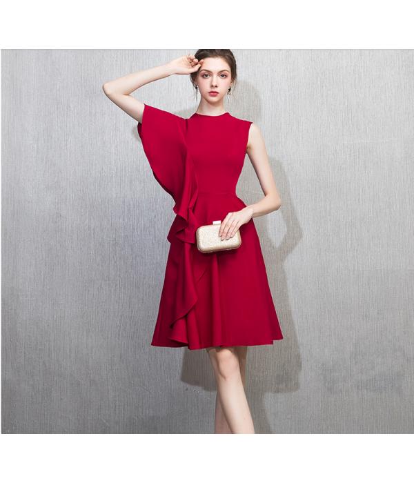 Australia Semi Formal Dress Fashion Lotus Edge Boat-neck Knee-Length Red Satin New
