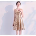 Fashion Short Sequined Sparkle & Shine Semi Formal Dress V-neck A-line Taffeta New