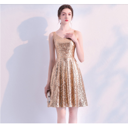 Fashion Short Sequined Sparkle & Shine Semi Formal Dress V-neck A-line Taffeta