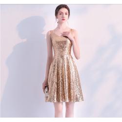 Fashion Short Sequined Sparkle &Amp; Shine Semi Formal Dress V Neck A Line Taffeta