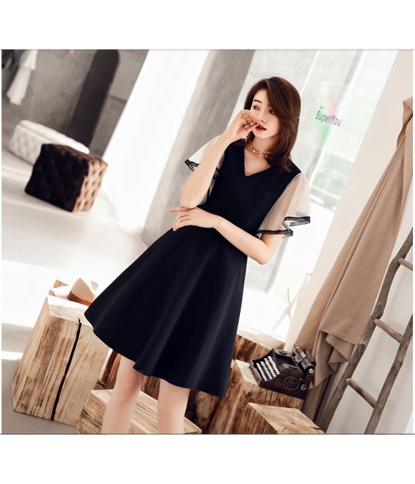 Australia Formal Dress Evening Gowns Black V-neck Fashion Tulle Cuffs A-line Knee-Length Spandex New