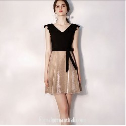 Australia Semi Formal Dress V Neck Black And Champagne Color Short A Line Dress With Sashes